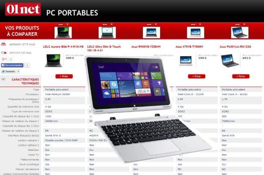 comparateur portable pc