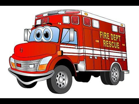 dessin animé de camion de pompier