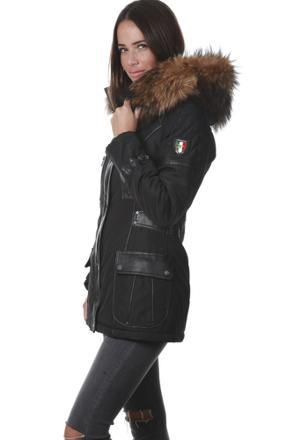 manteau femme grosse capuche fourrure