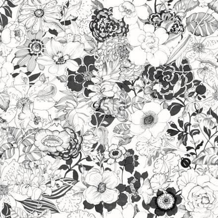 papier peint noir et blanc fleur