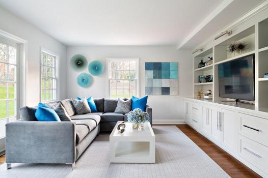 salon blanc gris bleu