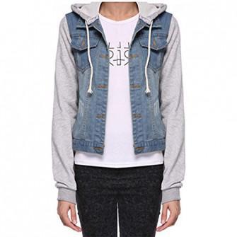 veste en jean avec capuche femme