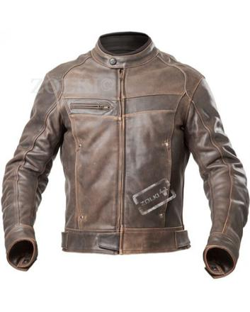 blouson cuir moto marron