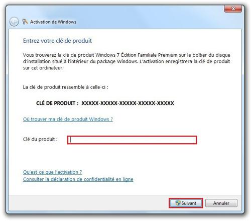 clé de produit windows 7