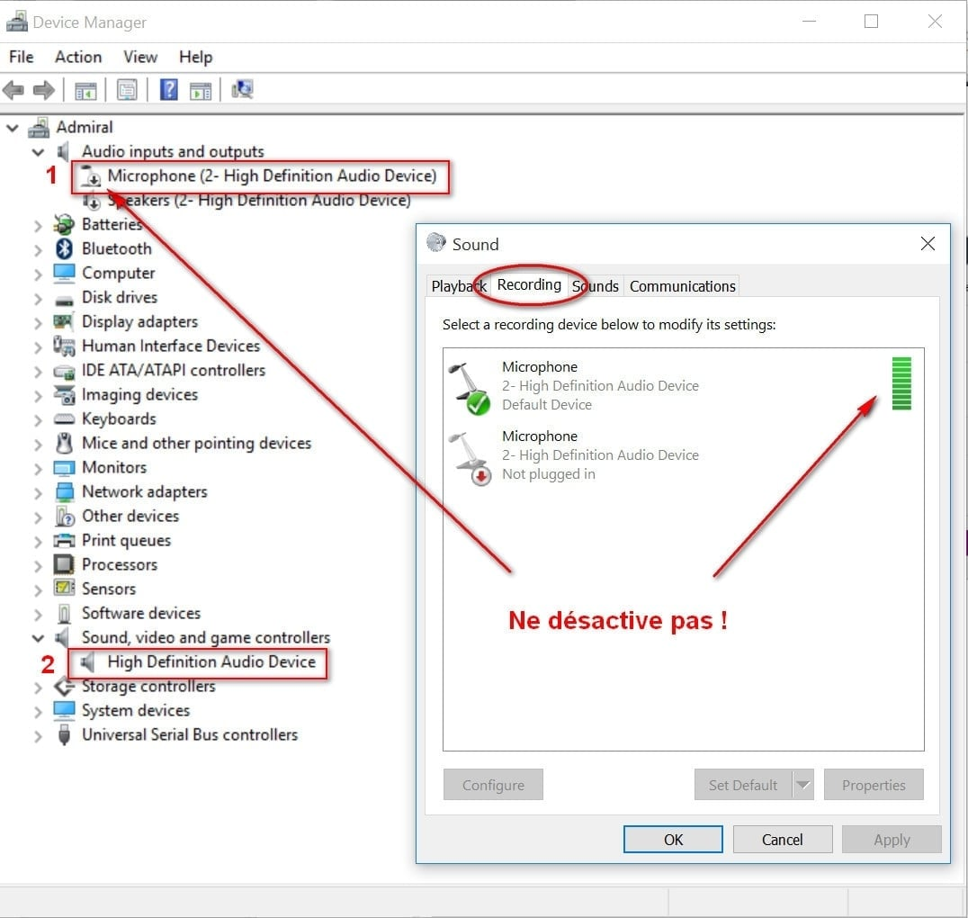 desactiver le micro intégré pc portable