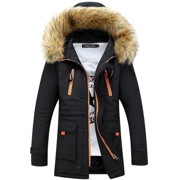 manteau homme capuche fourrure