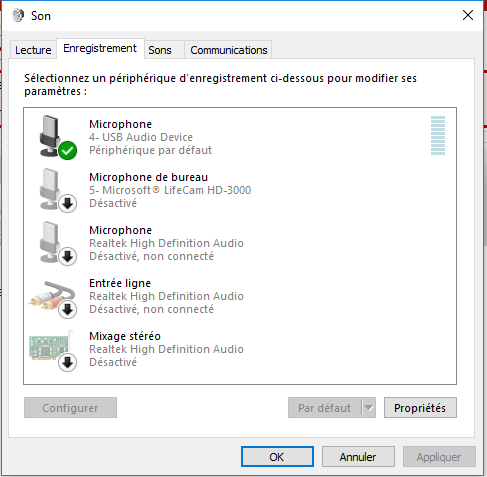 microphone non connecté windows 10
