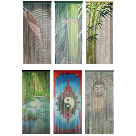 rideau de porte en bambou avec motif