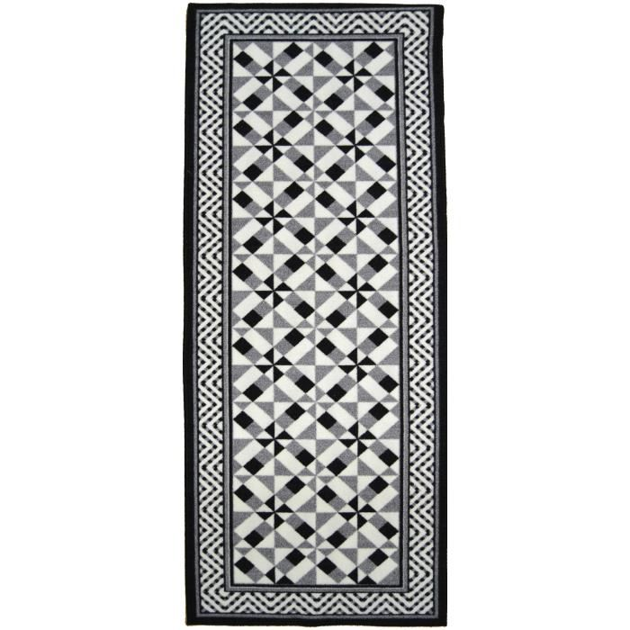 tapis couloir noir et blanc